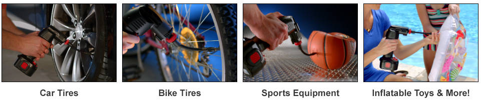 Car tires, bike tires, sports equipment, and inflatable toys